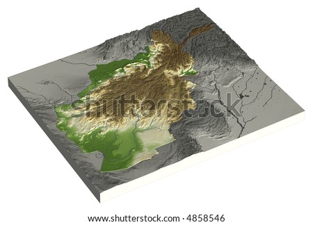 3D relief map of Afghanistan. Line of sight north-east.  Shows major cities and rivers, surrounding territory greyed out.  Colored according to height. Has embedded path to mask out the background. - stock photo