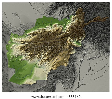 3D relief map of Afghanistan.  Shows major cities and rivers, surrounding territory greyed out.  Artificially colored according to terrain height. contains embedded path to mask out the background. - stock photo