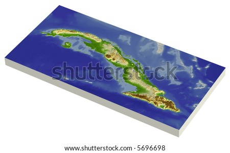 3D relief map of Cuba, line of sight towards north-west.  Shows major cities and rivers, surrounding territory greyed out.  Colored according to height. - stock photo