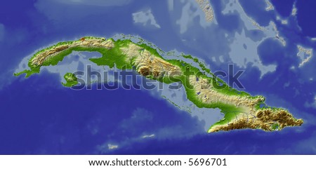 3D relief map of Cuba.  Shows major cities and rivers, surrounding territory greyed out.  Colored according to height. - stock photo