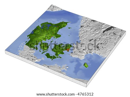 3D Relief Map of Denmark, line of sight towards north-west. Shows major cities and rivers, surrounding territory greyed out. Artificially colored according to terrain height.