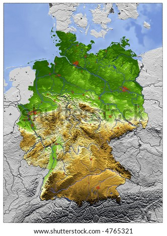Vector Map Germany Switzerland Austria Liechtenstein Stock Vector - Germany map with major cities