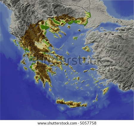 3D relief map of Greece.  Shows major cities and rivers, surrounding territory greyed out.  Artificially colored according to terrain height. - stock photo
