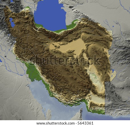 3D relief map of Iran.  Shows major cities and rivers, surrounding territory greyed out.  Colored according to terrain height. - stock photo
