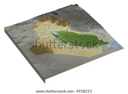 3D relief map of Iraq, line of sight towards north-east.  Shows major cities and rivers, surrounding territory greyed out.  Colored according to height. Contains path to mask out the background. - stock photo