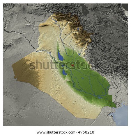 3D relief map of Iraq, seen from above.  Shows major cities and rivers, surrounding territory greyed out.  Colored according to terrain height. Contains path to mask out the background. - stock photo
