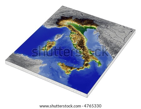 3D Relief Map of Italy, line of sight towards north-west. Shows major cities and rivers, surrounding territory greyed out. Artificially colored according to terrain height.