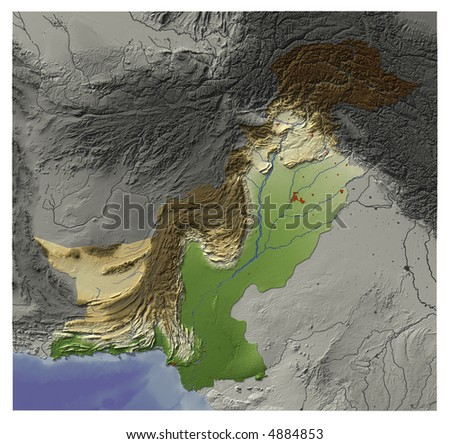 3D Relief Map of Pakistan.  Shows major cities and rivers, surrounding territory greyed out.  Artificially colored according to terrain height. Has an embedded path to mask out the background. - stock photo