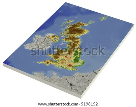 3D relief map of United Kingdom, line of sight towards north-west.  Shows major cities and rivers, surrounding territory greyed out.  Colored according to height. - stock photo