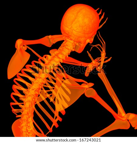 3d rende red skeleton of a sitting - back view - stock photo