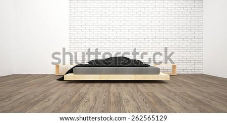 3d render a light bedrooms. Minimalist interior. Modern design. - stock photo