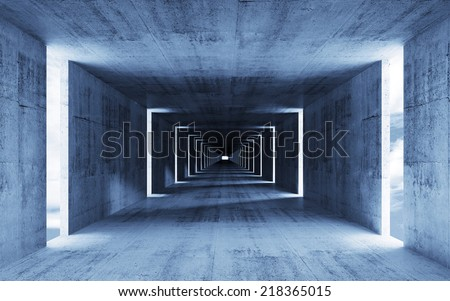 3d render, abstract empty blue concrete interior background - stock photo