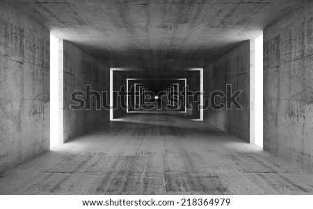 3d render, abstract empty gray concrete interior background - stock photo