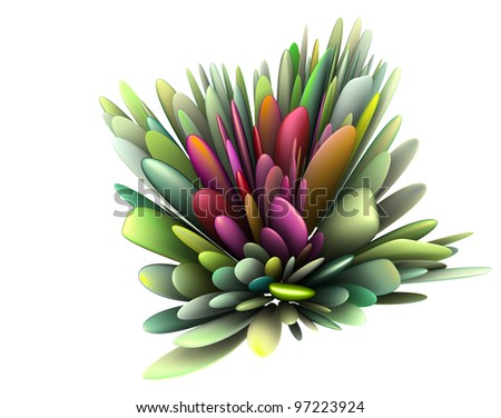 3d render abstract floral pattern in multiple bright colors - stock photo