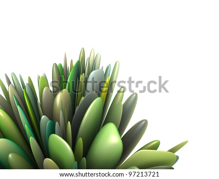 3d render abstract leaf pattern in multiple green colors - stock photo