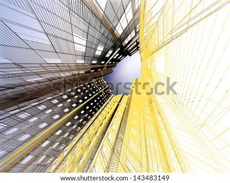 3d render abstract modern architecture background - stock photo