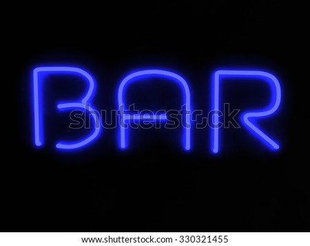 3d render bar blue neon sign isolated on black background - stock photo
