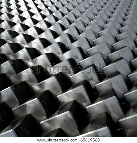 3D render bitmap - brushed metal cube structure - stock photo