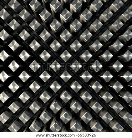 3D render bitmap - brushed metal cube structure