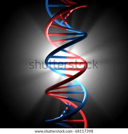 3D render bitmap - DNA model on black background with light beams - stock photo