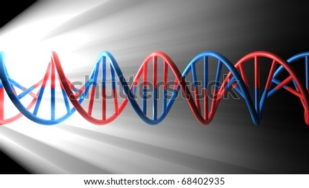 3D render bitmap - DNA model on black background with light beams