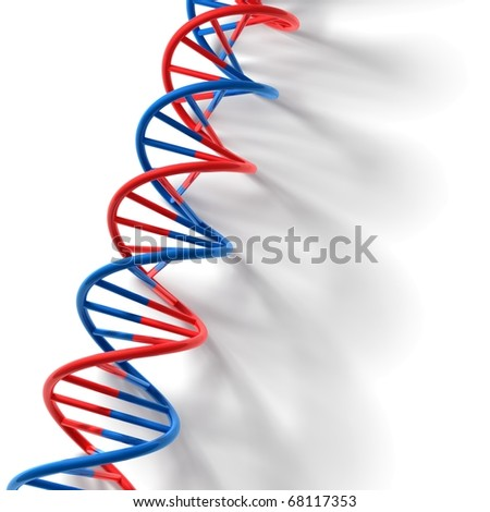 3D render bitmap - DNA model on white table with smooth shadow - stock photo