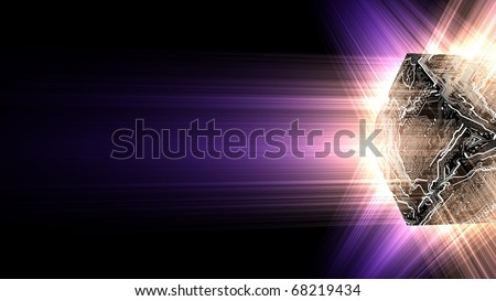 3D render bitmap - electronic circuit cube with energy beam of rays - stock photo