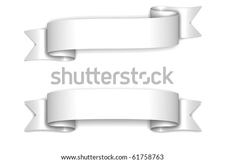 3D render bitmap - shiny classic white ribbon on white - stock photo