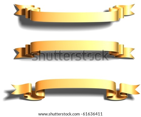 3D render bitmap - shiny dark gold ribbon on white - stock photo