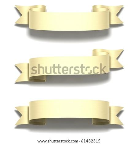 3D render bitmap - shiny gold ribbon on white - stock photo