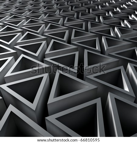3D render bitmap - triangle ornamental structure - stock photo