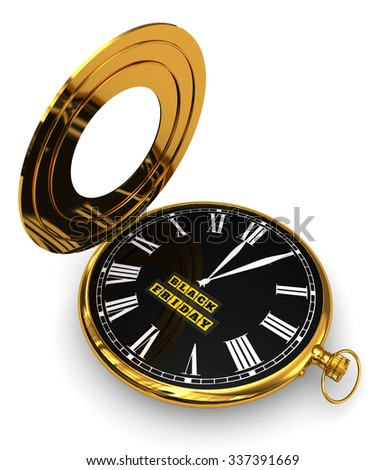 3D Render: Black Friday pocket watch isolated on a white background - stock photo