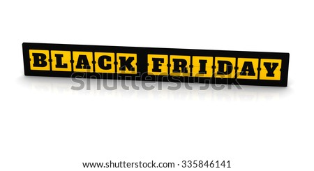 3D Render: Black friday sale, the letters on the board isolate on white background - stock photo