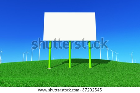 3D render - blank billboard and wind turbines farm on green meadow. Front view. - stock photo