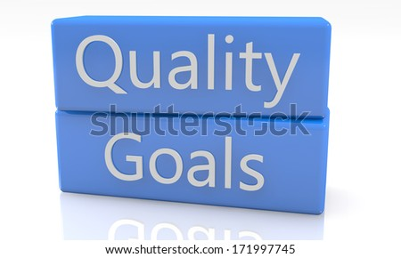 3d render blue box with Quality Goals on it on white background with reflection - stock photo