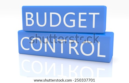 3d render blue box with text Budget Control on it on white background with reflection - stock photo