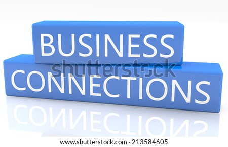 3d render blue box with text Business Connections on it on white background with reflection - stock photo