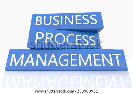 3d render blue box with text Business Process Management on it on white background with reflection - stock photo