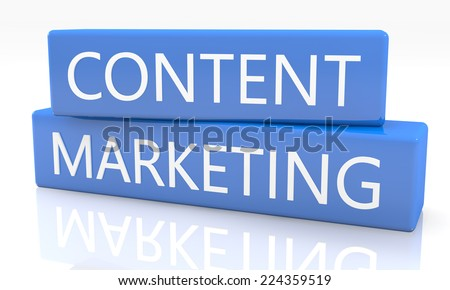 3d render blue box with text Content Marketing on it on white background with reflection - stock photo