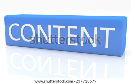3d render blue box with text Content on it on white background with reflection