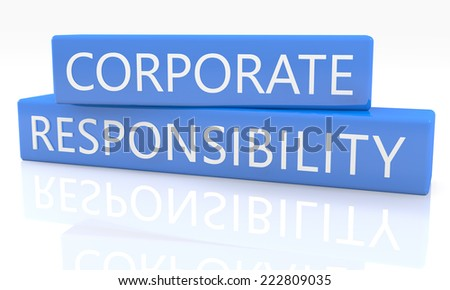 3d render blue box with text Corporate Responsibility on it on white background with reflection - stock photo