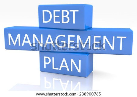 3d render blue box with text Debt Management Plan on it on white background with reflection - stock photo