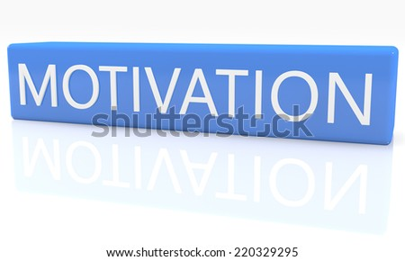 3d render blue box with text Motivation on it on white background with reflection - stock photo