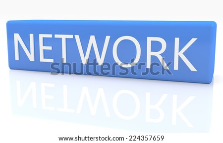 3d render blue box with text Network on it on white background with reflection