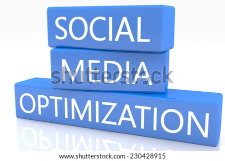 3d render blue box with text Social Media Optimization on it on white background with reflection - stock photo