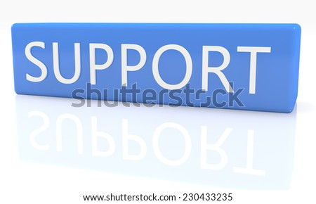3d render blue box with text Support on it on white background with reflection - stock photo