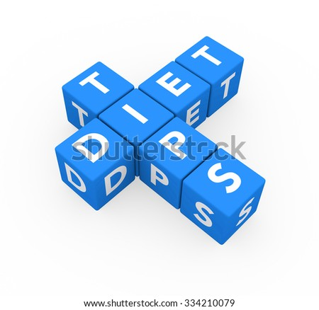 3d render blue cubes Diet Tips on a white background.