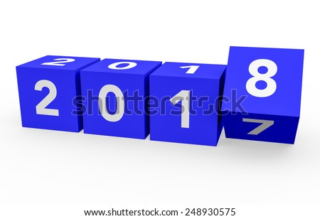 3d render blue cubes New Year 2018 on a white background.  - stock photo