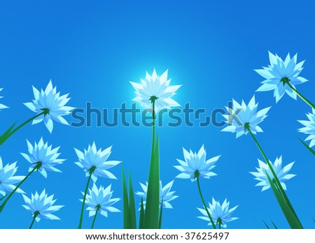 3D render - blue flowers with view form below. Spring theme. - stock photo