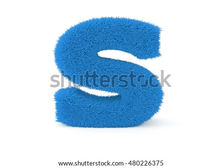 3d render blue furry letter S on a white background.